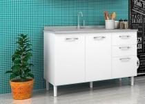 Balcão para Cozinha 2 Portas Pia 118 Branco - Nicioli -