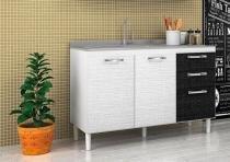 Balcão para Cozinha 2 Portas Pia 118 Branco / Preto - Nicioli -