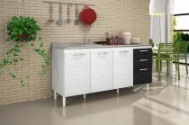 Balcão para Cozinha 3 Portas 3 Gavetas Pia 158 Branco/Preto - Nicioli -