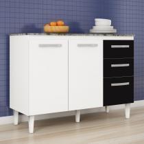 Balcão para Cozinha 3 Portas Aramóveis Branco/Preto - Aramóveis