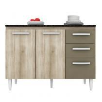 Balcão para Cozinha 3 Portas Aramóveis Teka/Brown - Aramóveis