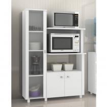 Balcão para Microondas e Armário com 1 Porta de Vidro BL3304 - Branco - Tecno mobili