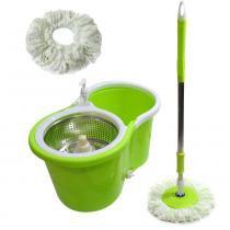 Balde Mop Esfregao Inox 360 Spin Centrifuga Limpeza + 1 Refil (bsl-mop-5/Verde/clb-03001) - Braslu