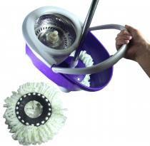 Balde Mop Esfregao Inox De Limpeza Spin Casa Centrifuga + 1 Refil Extra Microfibra Roxo (bsl-mop-4) - Braslu
