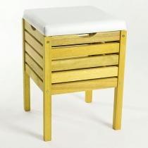 Banco Cesto Aquiles Stain Amarelo 0,68x0,40 cm - Branco - Mão e Formão