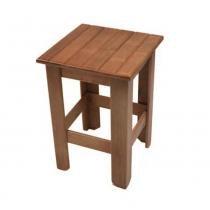 Banco quadrado ripa em madeira maciça de lei rústica - My shop brasil