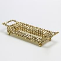 Bandeja de Cristal Retangular Dourada - Média - Wolff