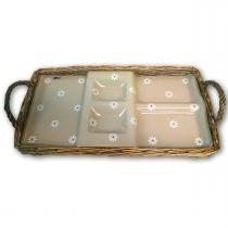 Bandeja de vime com base de vidro com 5 divisões 376 média decor glass -