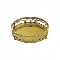 Bandeja Decorativa Redonda de Metal com Espelho 15cm Mart Collection Dourado -
