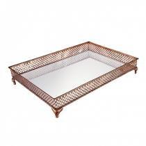 Bandeja Decorativa Retangular de Metal com Espelho 53cmx37cm Mart Collection Marrom -