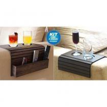 Bandeja/Esteira Porta Copos para braço de Sofá - Madeira Tabaco, Kit com 01 porta controle e 01 tradicional - Dikaza móveis e decorações