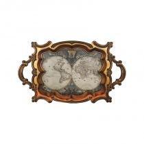 Bandeja mapa mundi antique de madeira e pvc - Dourado - Goods br