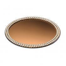 Bandeja Redonda Decorativa Espelhada Dourada - 30 cm - Lyor
