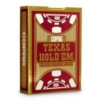 Baralho Copag Poker Texas HoldEm Borgonha 100 Plástico  Estojo Unitário - COPAG