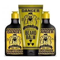 Barba Forte Danger Kit Shampoo + Condicionador Bomba + Bálsamo para Barba - 3x 170ml - Barba Forte