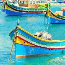 Barcos de Pesca - Pietrov  Tela Grande Para Quadro - Santhatela
