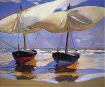 Barcos na Praia - Sorolla  Tela Grande Para Quadro - Santhatela