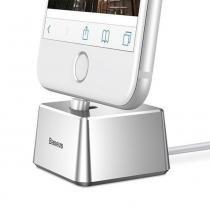 Base Dock Baseus Carregador Alumínio Prata + Cabo Iphone 6 7 8 X -