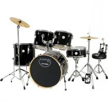 Bateria Com Banco E Pratos 2 Tons Stage Preta X-Pro Drums - X-Pro Drums