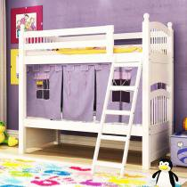 Beliche Exclusive Branco com Escada, Grade de Proteção e Tenda Lilás - Madeira Maciça - Casatema - CasaTema