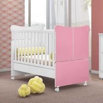 Berço mini cama super infantil qmóveis doce magia cor rosa -