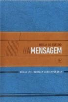 Bíblia de Estudo A Mensagem - Capa de Luxo Azul e Bege - Vida