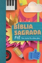 Biblia sagrada nvt - colagem - letra normal com brocura e orelhas - Mundo cristao