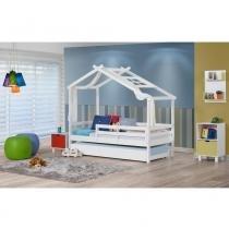 Bicama infantil prime com telhado v, xale e grade de proteção - madeira maciça - casatema -