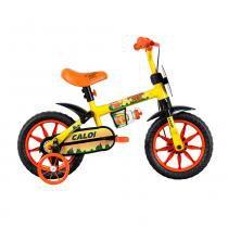Bicicleta Aro 12 - 1 Marcha com Rodinhas Power Rex Amarela - Caloi -
