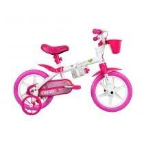 Bicicleta Aro 12 Cecizinha com Rodinhas e Cestinha Rosa - Caloi -