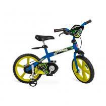 Bicicleta Aro 14  - 1 Marcha com Rodinhas Adventure Azul - Bandeirante -