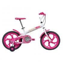 Bicicleta Aro 16 com Rodinhas Ceci Rosa e Branca - Caloi -