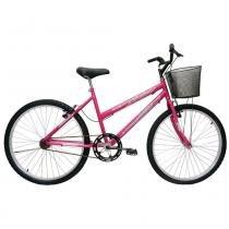 Bicicleta Aro 24 Cairu Bella com Cesta - 1 Velocidade rosa -