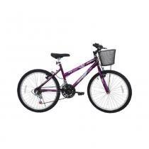 Bicicleta Aro 24 Cairu Bella com Cesta - 21 Velocidades -