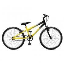 Bicicleta Aro 24 Masculina Ciclone Amarelo com Preto Master Bike sem Marchas -