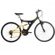 Bicicleta Aro 26 Dupla Suspensão TB100 Preto/Amarelo - Track Bikes - Track Bikes
