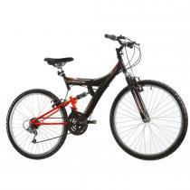 Bicicleta Aro 26 Dupla Suspensão TB100 Preto/Laranja - Track Bikes - Track Bikes