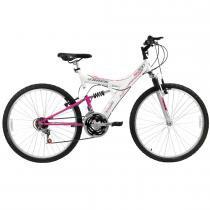 Bicicleta Aro 26 Dupla Suspensão TB200 Branco/Magenta - Track Bikes - Track Bikes
