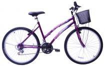 Bicicleta aro 26 feminina mega sport com 21 marchas cestinha pezinho roxa - Mega bike