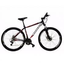 Bicicleta Aro 29 Totem 24v Com Freio a Disco e Shimano Preto com Vermelho 19 -
