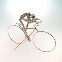 Bicicleta Decorativa Em Metal Prata - MaisAZ
