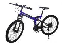 Bicicleta Dobravel 21 Marchas Aro 26 Pratica Freio Disco Azul e Preta Urbana - Braslu