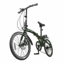 Bicicleta Dobravel Verde Two Dogs Pliage Freio a Disco 7 Velocidades -