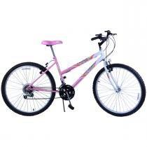 Bicicleta Feminina Aro 26 18 Marchas Dalia Rosa com Branco - Dalannio Bike
