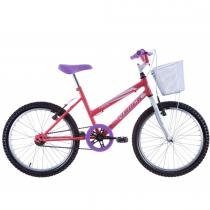 Bicicleta Feminina Cindy com Cesta Aro 20 Salmão/Branco - Track Bikes - Track Bikes