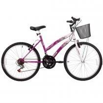 Bicicleta Feminina Parati com Cesta Aro 24 Branco/Magenta - Track Bikes - Track Bikes