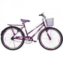 Bicicleta Feminina Personal Genova com Cesta Aro 26 Roxa - Cairu - Cairu