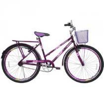 Bicicleta Feminina Personal Genova com Cesta Aro 26 Roxa - Cairu - Roxo - Cairu