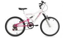 Bicicleta free action aro 20 full fa-240 6v branca/rosa - 04-047.020 -