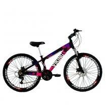 Bicicleta Freeride Aro 26 Freio a Disco 21 Velocidades Câmbios Shimano Preto/Rosa - Viking -